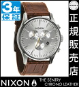 Review with coupon 6000 Yen-present during ★ [regular 2 years warranty] NA4051888 Nixon Sentry Chrono leather Nixon watch men's watches NIXON watch NIXON SENTRY CHRONO LEATHER SADDLE GATOR Nixon watch nixon at chronograph