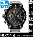 Review with coupon 10000 Yen-present during ★ [regular 2 years warranty] NA4862033 Nixon 48-20 Chrono Nixon watches ladies NIXON watch NIXON 48-20 CHRONO ALL BLACK/GOLD JPN Japan limited Chronograph Watch nixon watch Nixon watches Mens Watches 1125 NIXON