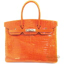 Hermes Birkin 35 Orange Porosus crocodile S bracket Hermes Birkin35 Orange Crocodile Porosus Lisse Silver Buckle
