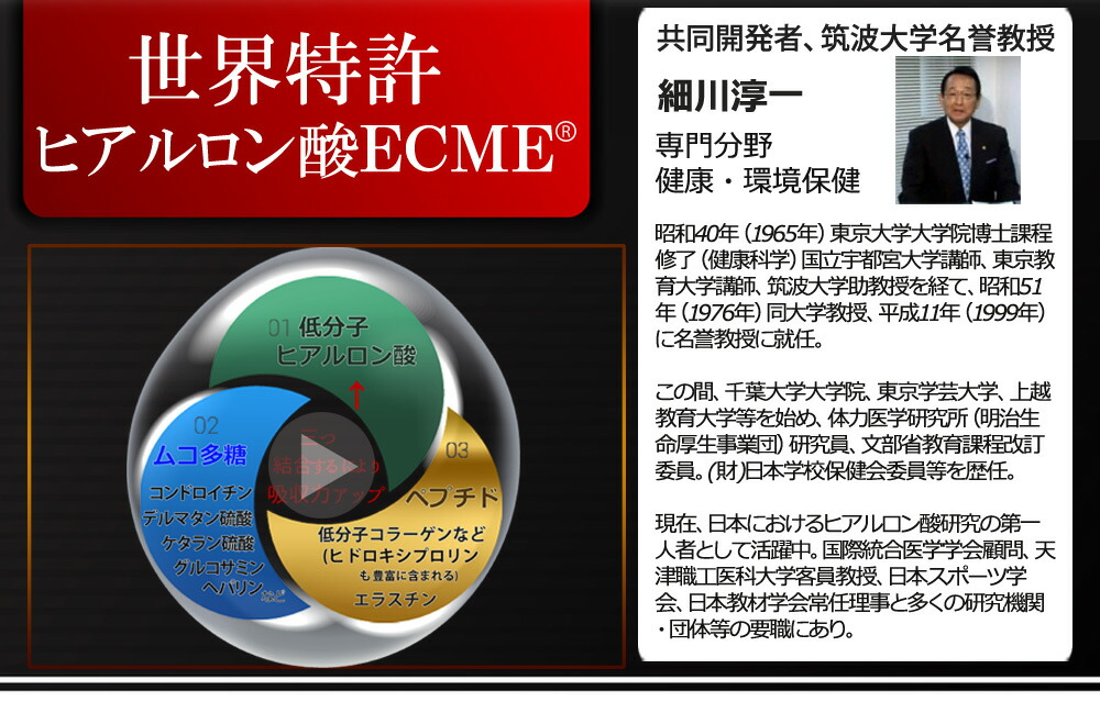 ヒアルロン酸ecme-eとは 製造会社アタプトゲン製薬