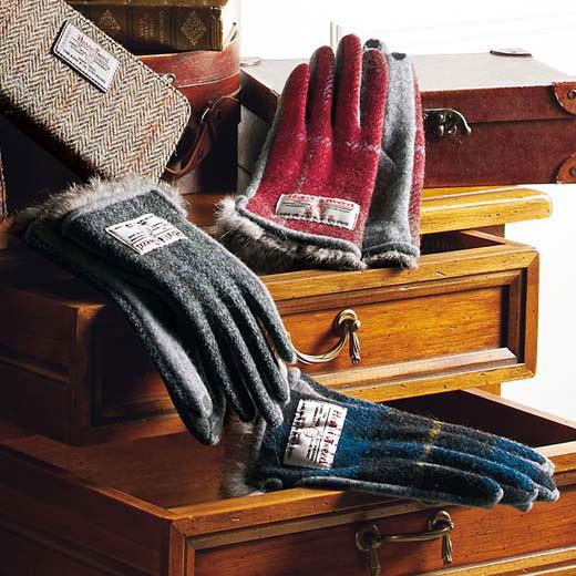 【Harris Tweed】スマホ対応ファー付手袋