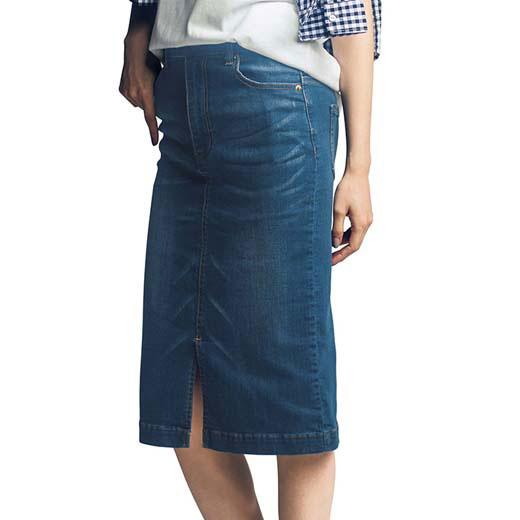 接触冷感ストレッチデニムタイトスカート