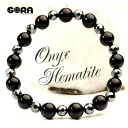 Power stone | ♪ AAA black onyx AAA hematite (cut) bracelet talisman against evil, patience power stone nature stone onyx beads string of beads bracelet slightly small-sized postage 160 yen ★