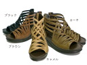 Double-cross Gladiator Sandals ( ブーサン ) ★ Raku-フワフワファスナー with ♪ ☆ Japan leather