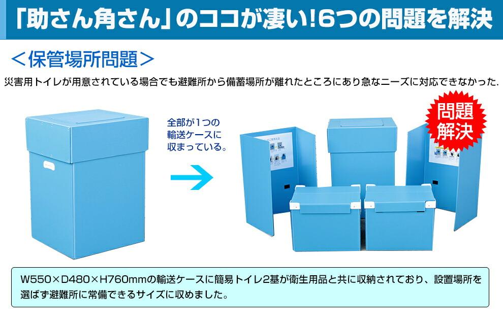 保管場所の問題を解決。輸送ケース1箱の中に備蓄品とトイレを搭載