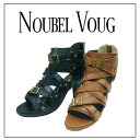 1002 NOUBEL VOUG ☆ real leather, multiplex bell tog transmitting antenna sandals