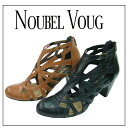 NOUBEL VOUG 7028 ☆ leather and ヴィンテージー machining カットワークブー tea sandals