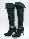 Venti Anni 42999 studded belt with rumpled knee high boots