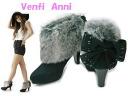 Booties with 52578 Venti Anni ヴェンティアンニ ☆ fake fur back ribbon