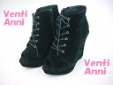 53605 Venti Anni Venti Anni ☆ thick bottom wedge sole-オープントゥレースアップブー tea