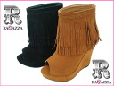 Open toe booties with 56513 Venti Anni ヴェンティアンニ ☆ thickness bottom wedge sole fringes★
