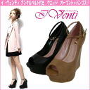 Thickness bottom wedge sole pumps with I, 73402 Venti イ bench ☆ ankle belts