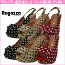 Ragazza 61020 ☆ ラガッツア thick heel-dot pattern Ribbon sandals