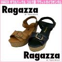 62131 RAGAZZA ☆ ラガッツアダブルバックルコルク-like flat type sandals