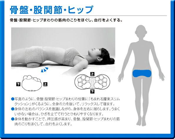 骨盤・股関節・ヒップ 骨盤・股関節・ヒップまわりの筋肉のこりをほぐし、血行をよくする。・写真のように、骨盤・股関節・ヒップまわりの位置に揉まれる腰楽スリムクッションがくるように、分身の力を抜いてリラックスして寝ます。・身体の左右のバフンスを意識しながら、身体を左右に揺らします。うまくいかない場合は、ひざを立てて行うとひねりやすくなります。・身体を動かすことで、押圧感が高まり、骨盤、股関節・ヒップまわりの筋肉のこりをほぐして、血行をよくします