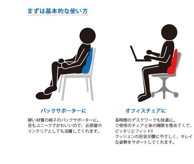 まずは基本的な使い方、バックサポーターに。硬い材質の椅子のバックサポーターに。形もユニークでかわいいので、お部屋のインテリアとしても活躍してくれます。オフィスチェアに。長時間のデスクワークも快適に。ご使用のチェアと体の隙間をパウダービーズが埋めてくて、ピッタリとフィット!!クッションの形状が腰にやさしく、キレイな姿勢をサポートしてくれます。
