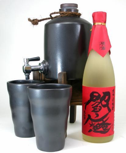 【限定】お得なセット!焼酎熟成サーバー+人気麦焼酎 閻魔720ml+ 土善おしゃれ焼酎カップ大