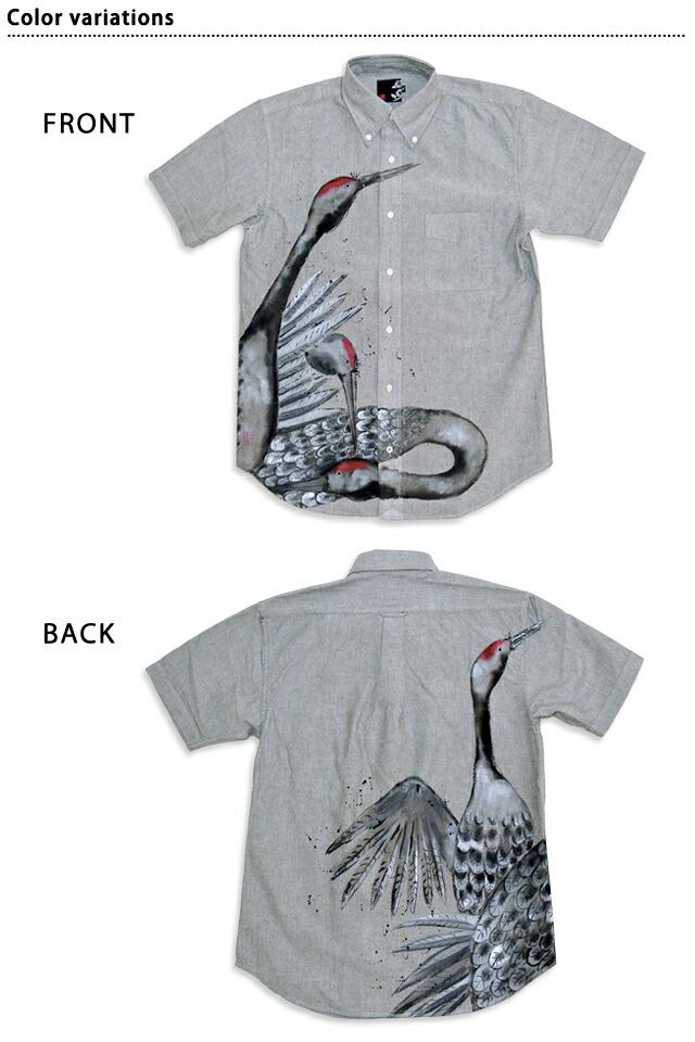 """徒手图短袖衬衫""""结成群的丹顶鹤""""◆碧10p03dec16[new]"""
