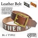 BL-1 leather belt type 2 benzresa stencil prints natural Black Brown handmade