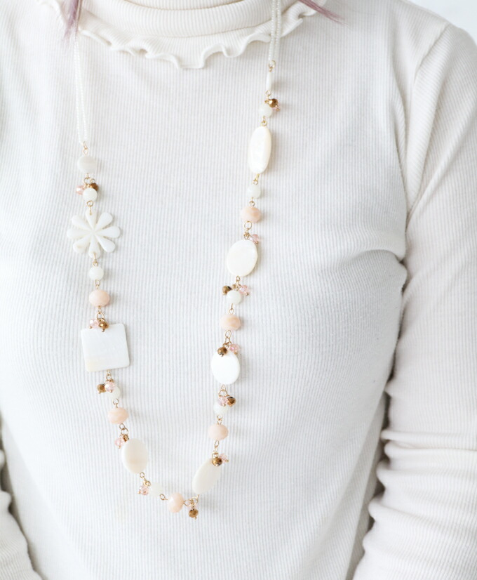 sanpo女子的好可爱的可爱的漂亮的白花白花外壳贝壳天然tsu粉红黄金