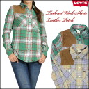 LEVI'S/Lady's (Levis) leather patchwork shirt / flannel shirt 50826