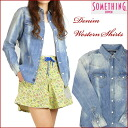 SOMETHING (something) denim western shirt / light color blue V98157