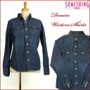 SOMETHING (something) denim western shirt / deep color blue V98157