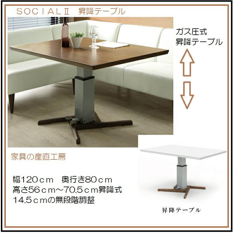 ソシアル2昇降テーブル単品