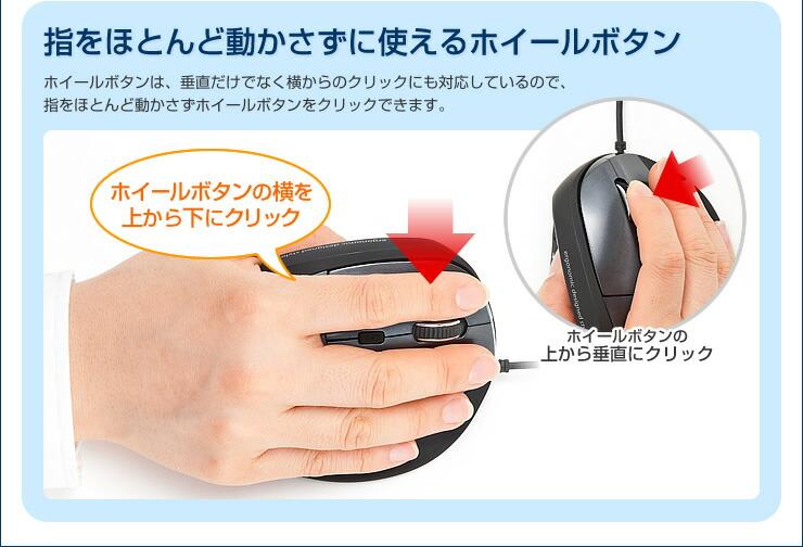 指をほとんど動かさずに使えるホイールボタン