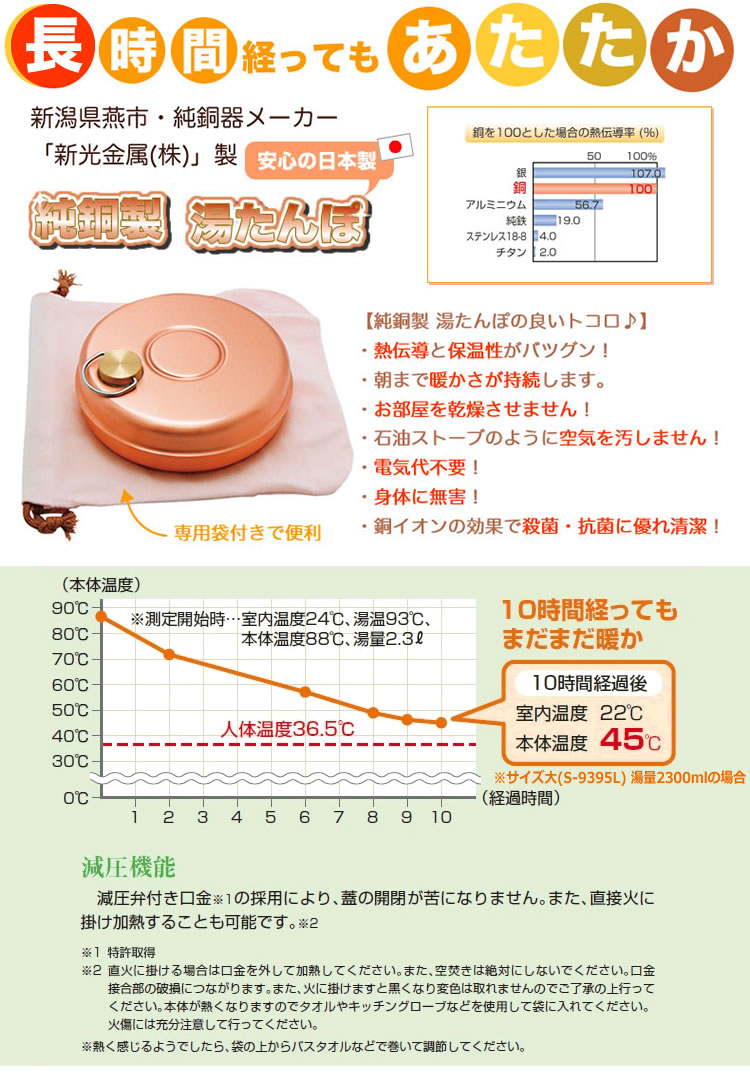 純銅製の湯たんぽ