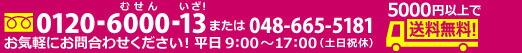 �����ڤˤ��䤤�礻��������0120-6000-13�ޤ���048-665-5181
