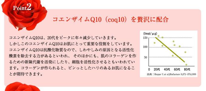Point2 コエンザイムQ10(coq10)を贅沢に配合 コエンザイムQ10は、20代をピークに年々減少していきます。 しかしこのコエンザイムQ10はお肌にとって重要な役割をしています。 コエンザイムQ10は抗酸化物質なので、しわやしみの原因となる活性化酸素を除去する力があるといわれ、 そのほかにも、肌のコラーゲンを作るための新陳代謝を活発にしたり、細胞を活性化させるともいわれています。コラーゲンが作られると、ピンっとしたハリのあるお肌になることが期待できます。
