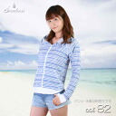 It is 9327 relaxedly (lady's swimsuit) Ice Cream Sport Malin pattern horizontal stripes rush guard parka UPF50+/ finger hole /