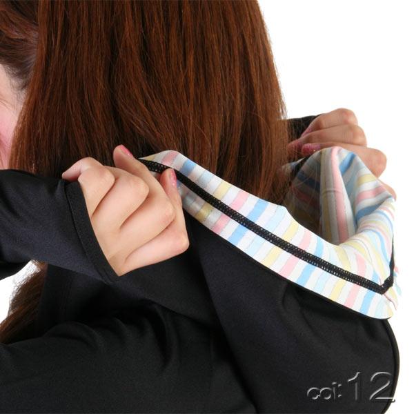 【あす楽】IceCreamSportムジ・シャツ生地ロングラッシュガードパーカーUPF50+/指穴/速乾(レディース水着)9342