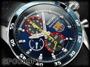 SEIKO's Pau chula chronograph FC Barcelona collaboration model men watch navy bezel blue dial black leather belt SPC089P1