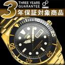 5 SEIKO sports men divers self-winding watch watch ゴールドケースブラックルダイアルゴールドステンレスベルト SNZF22J1