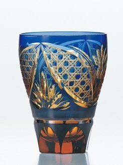 彩花切子大玻璃杯 琉璃 水晶玻璃 切子 玻璃 HG210 13BL kiriko