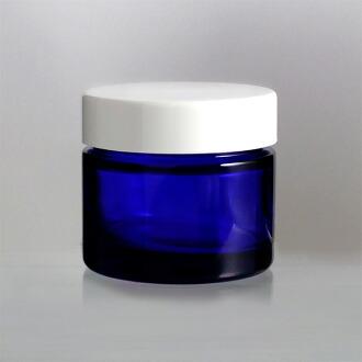 玻璃瓶 乳霜瓶  E-50乳霜 50g用 blue glass lotion jar