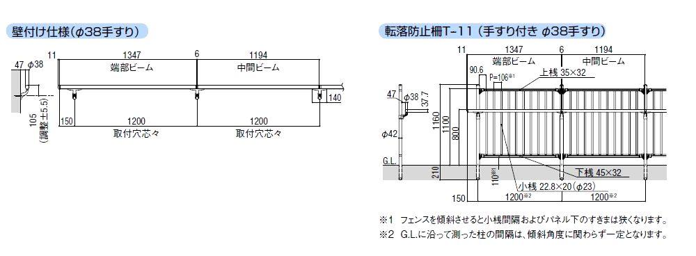 基本寸法 壁付け仕様・転落防止柵T-11