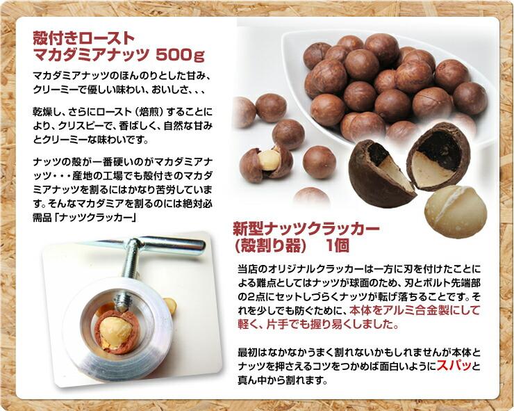 殻付きロースト マカダミアナッツ 500g+新型ナッツクラッカー(殻割り器) 1個