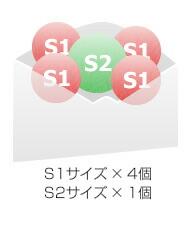 S1サイズ × 4個 S2サイズ × 1個