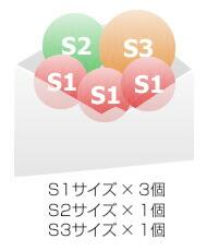 S1サイズ × 3個 S2サイズ × 1個 S3サイズ × 1個