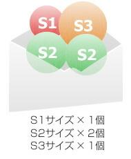 S1サイズ × 1個 S2サイズ × 2個 S3サイズ × 1個
