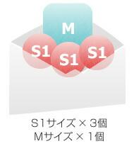 S1サイズ × 3個 Mサイズ × 1個