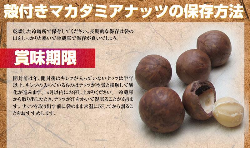 殻付きマカダミアナッツの保存方法