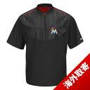 MLB Marlins jacket black majestic /Majestic (2015 On-Field Short Sleeve Training Jacket)