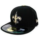 美国橄榄球联盟新奥尔良圣徒副业 59fifty 足球结构拟合帽 (黑色/金色