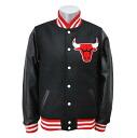 NBA Chicago Bulls Wool/Leather Varsity Front Snap jacket (black) Mitchell&Ness