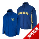 -1 MLB Milwaukee Brewers Authentic Triple Climate 3-In On-Field jacket (blue) Majestic