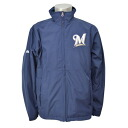 Majestic MLB Milwaukee Brewers Authentic Wind Jacket (gold/Navy)